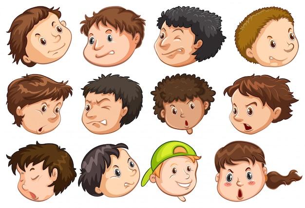 Conjunto de cabeça de pessoas com expressão Vetor grátis