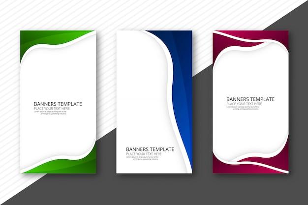 Conjunto de cabeçalho abstrato três onda colorida web banners Vetor grátis