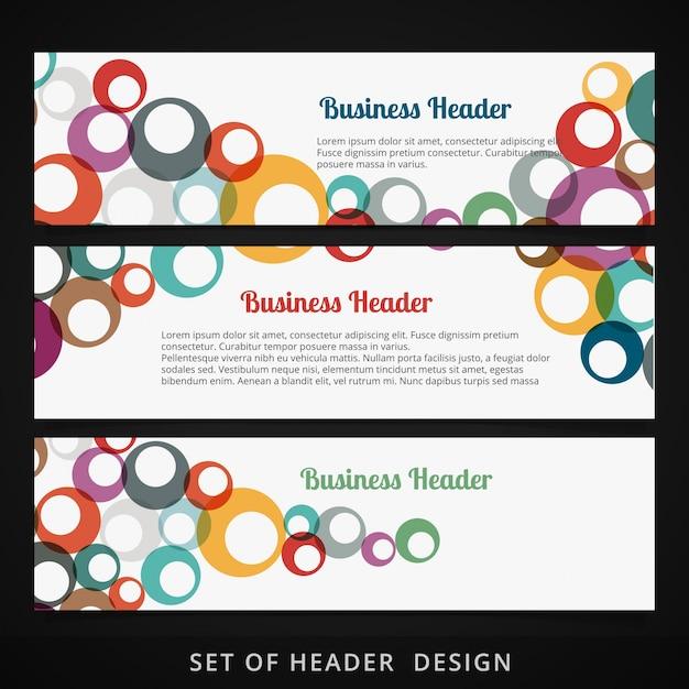 Conjunto de cabeçalhos com círculos coloridos que fluem dentro do design vetorial Vetor grátis