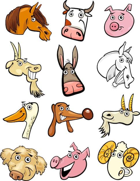 Conjunto de cabeças de animais de fazenda de desenhos animados Vetor Premium