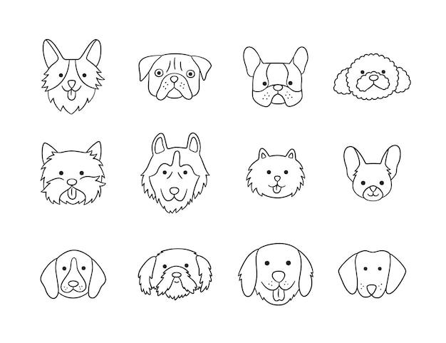 Conjunto de cabeças de cães de diferentes raças Vetor Premium