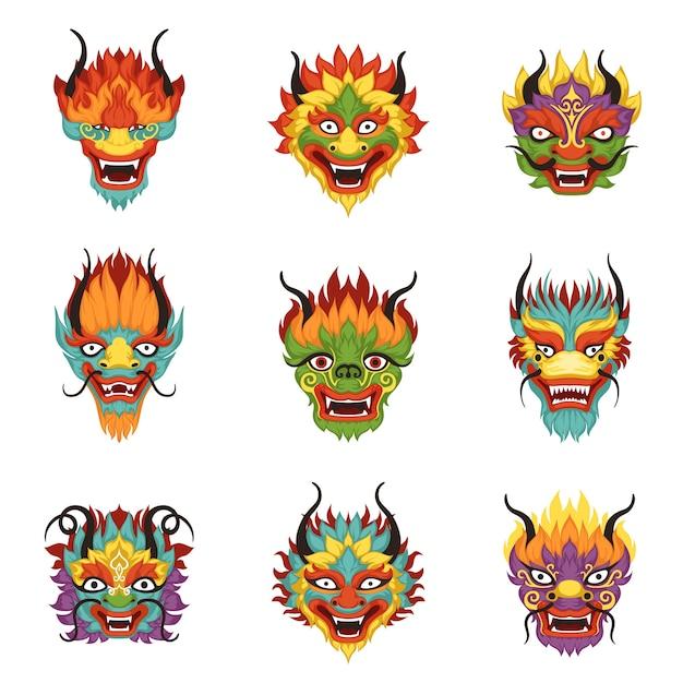 Conjunto de cabeças de dragão chinês, símbolo do ano novo chinês Vetor Premium