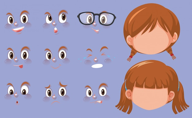 Conjunto de cabeças humanas e expressões diferentes no rosto Vetor Premium