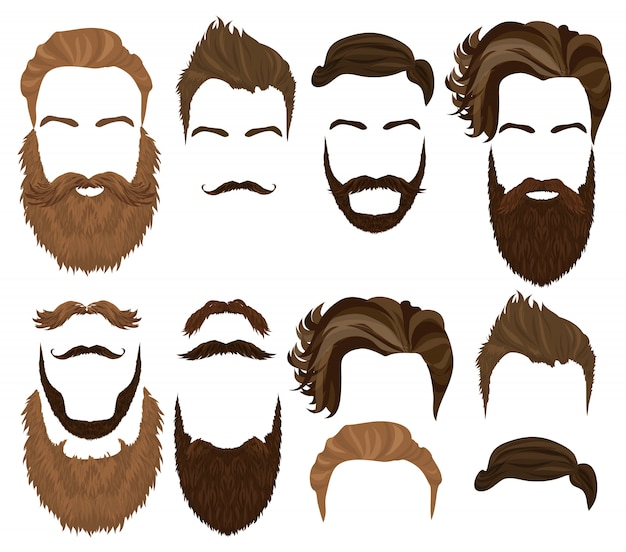 Conjunto de cabelo, bigode e barba de homem Vetor Premium