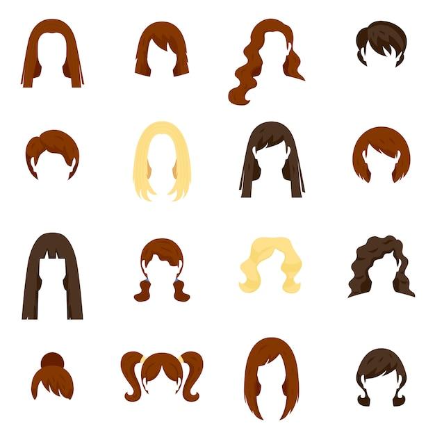 Conjunto de cabelo de mulher Vetor Premium