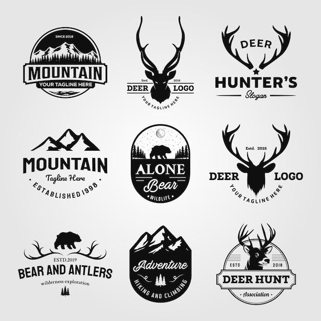 Conjunto de caça e aventuras ao ar livre logotipo vintage desenhos ilustração Vetor Premium