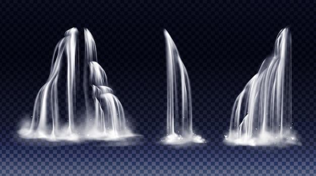 Conjunto de cachoeiras com cascata, splash e nevoeiro Vetor grátis