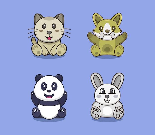 Conjunto de cachorro, gato, urso e coelho Vetor Premium