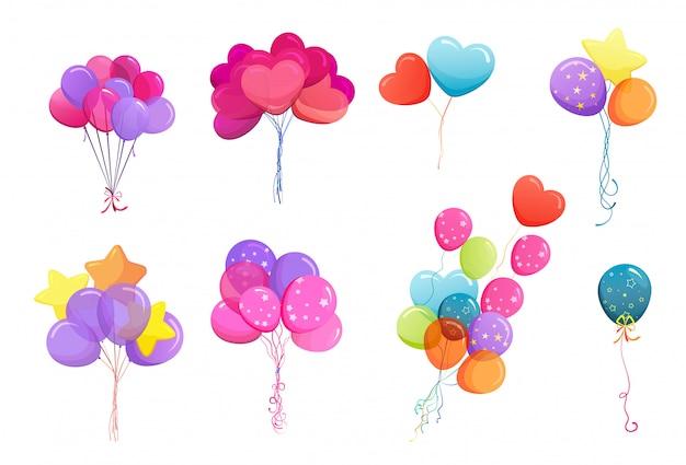 Conjunto de cachos de balão s Vetor grátis