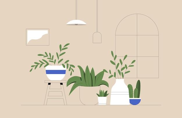 Conjunto de cactos, plantas em vasos, floreiras, folhas tropicais em ambiente aconchegante Vetor Premium