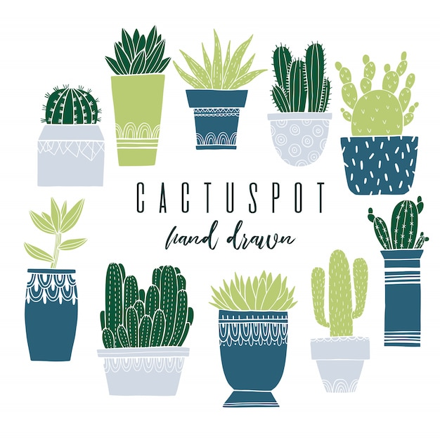 Conjunto de cactus pot e suculenta no estilo de desenho Vetor Premium