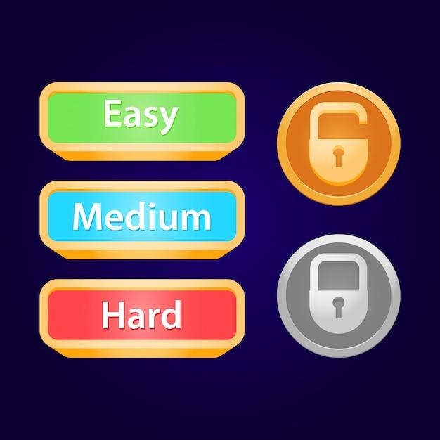 Conjunto de cadeado da interface do usuário do jogo e dificuldade do jogo Vetor Premium