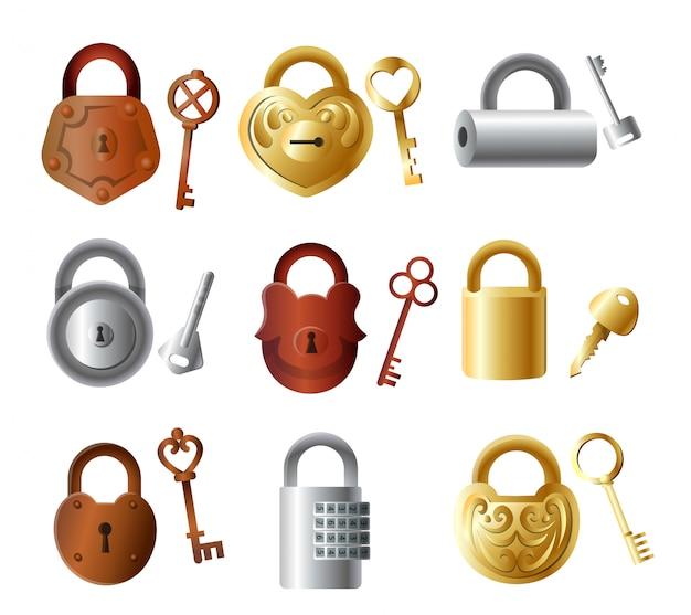 Conjunto de cadeado de metal colorido com chaves, cor de ouro Vetor Premium