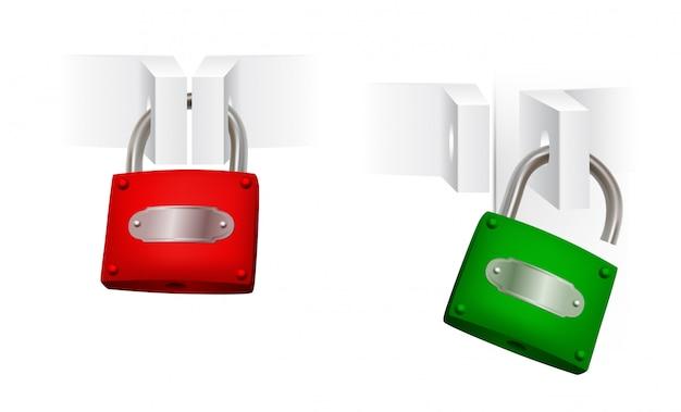Conjunto de cadeados abertos e fechados Vetor Premium