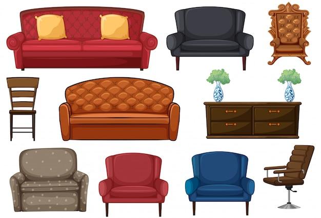 Conjunto de cadeira e sofá Vetor grátis
