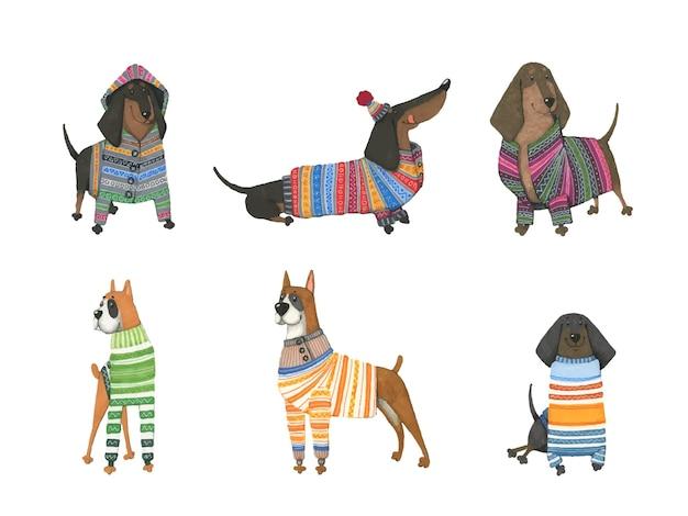 Conjunto de cães aquarela em camisolas quentes. Vetor Premium