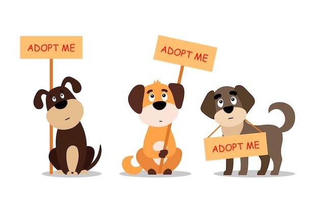 Conjunto de cães sentados e em pé com um cartaz adote-me. não compre - ajude os animais de rua a encontrar uma casa, kit de filhotes tristes - ilustração Vetor Premium