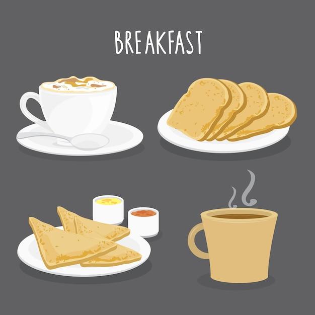 Conjunto de café da manhã, café e torradas de pão. vetor dos desenhos animados Vetor Premium
