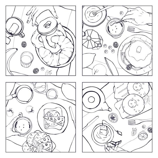 Conjunto de café da manhã diferente, vista superior. ilustrações quadradas com almoço. bebida saudável, fresca de brunch, panquecas, sanduíches, ovos, croissants e frutas. preto e branco coleção de mão desenhada. Vetor Premium