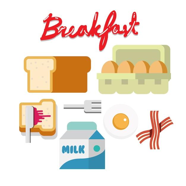 Conjunto de café da manhã. Vetor Premium