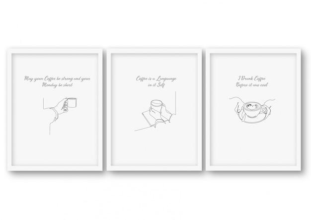 Conjunto de café de uma linha, ilustração de estoque de pôster Vetor Premium