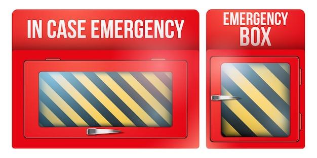Conjunto de caixa de emergência vermelha vazia com vidro quebrável em caso de emergência. Vetor Premium