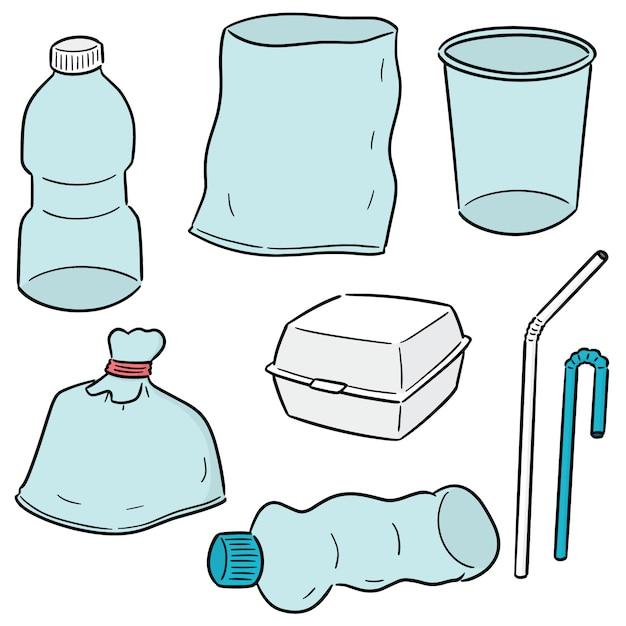 Conjunto de caixa de espuma e objeto de plástico Vetor Premium