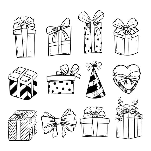 Conjunto de caixa de presente de aniversário ou natal com estilo doodle Vetor Premium