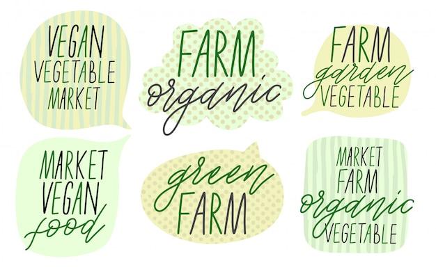 Conjunto de caixas de bolhas do discurso. texto para o legume da fazenda. Vetor Premium