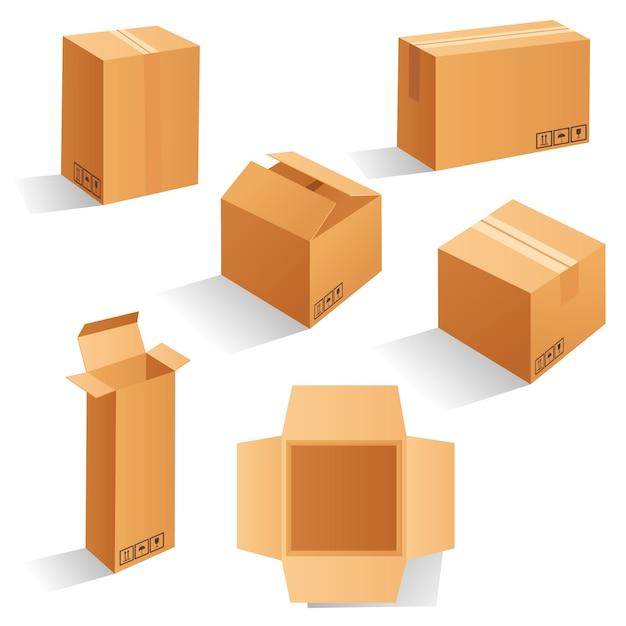 Conjunto de caixas de embalagem de papelão marrom em branco. pode ser usado para medicamentos, alimentos, cosméticos e outros. ilustração realista Vetor Premium