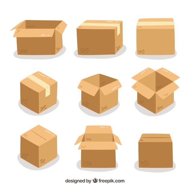 Conjunto de caixas de papelão para o transporte Vetor grátis