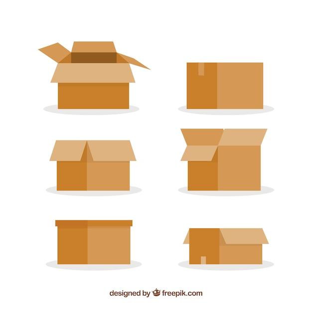 Conjunto de caixas de papelão para o transporte Vetor Premium