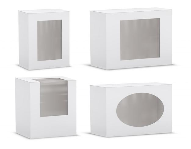 Conjunto de caixas de papelão vazias realistas com janelas transparentes Vetor grátis