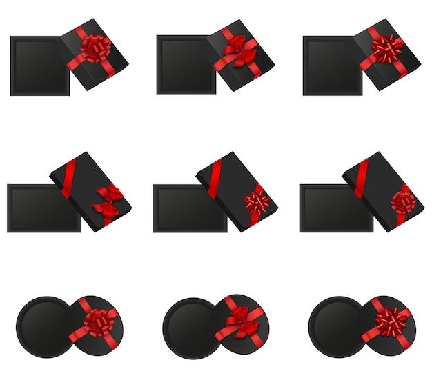 Conjunto de caixas de presente abertas vistas de cima. caixas de presente pretas isoladas com laços vermelhos. elementos black friday Vetor Premium