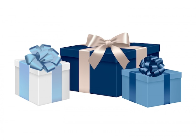 Conjunto de caixas de presente azul com laços de cetim e fitas. Vetor Premium