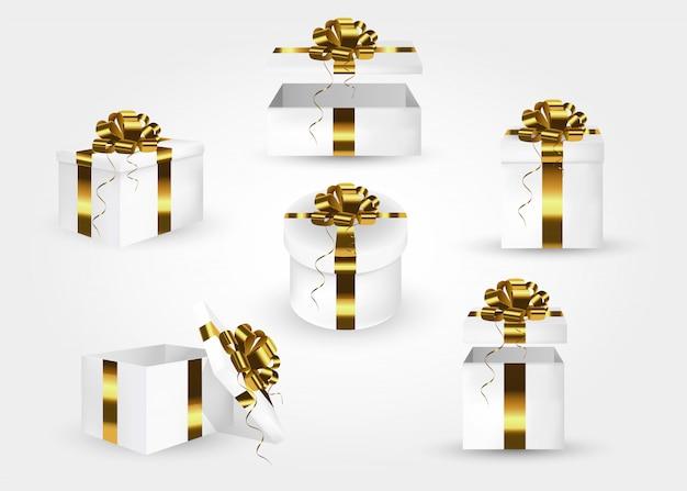 Conjunto de caixas de presente. coleção de caixas de presente 3d com laços de cetim ouro Vetor Premium