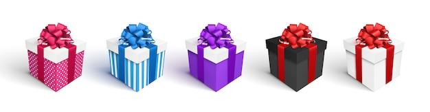 Conjunto de caixas de presente, isolado no branco Vetor Premium