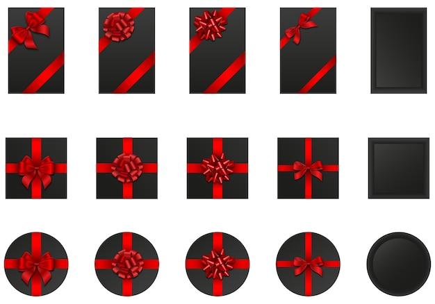 Conjunto de caixas de presente pretas com laços e fitas vermelhas. elementos black friday Vetor Premium