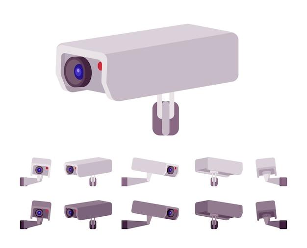 Conjunto de câmera de cftv. sistema de televisão em circuito fechado para gravações ao ar livre, monitoramento. embelezamento de rua da cidade, conceito de design urbano. estilo cartoon ilustração, posições diferentes Vetor Premium