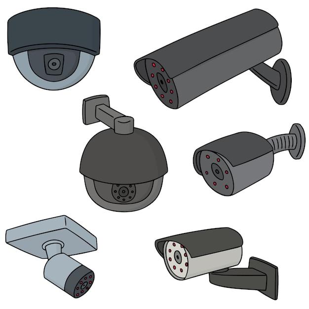 Conjunto de câmera de segurança Vetor Premium