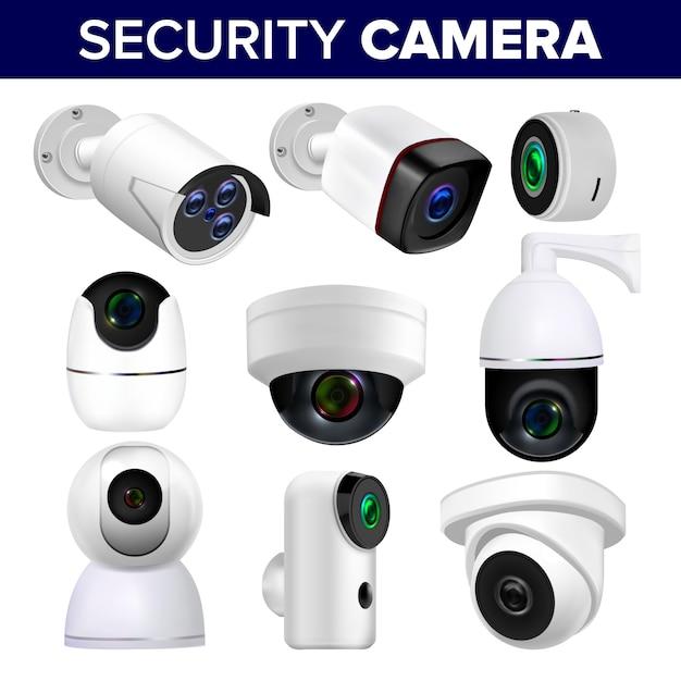 Conjunto de câmeras de segurança de vigilância por vídeo Vetor Premium