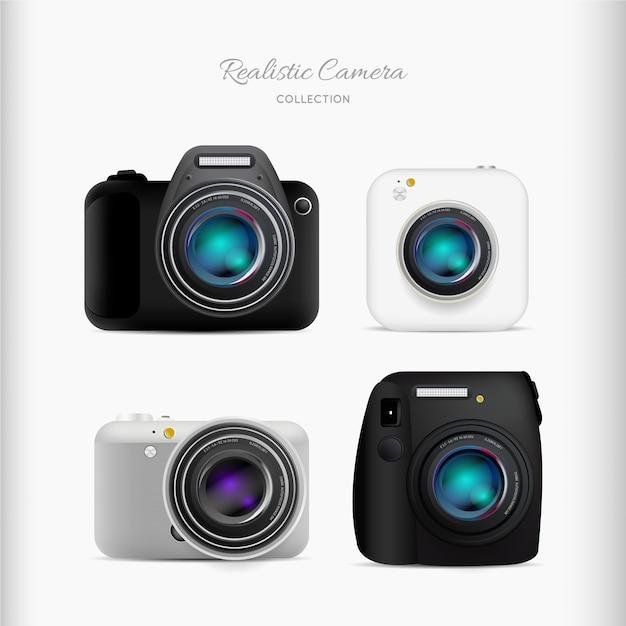 Conjunto de câmeras realistas Vetor grátis