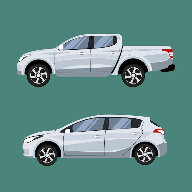 Conjunto de caminhonete de veículos e hatchback em vista lateral. Vetor Premium
