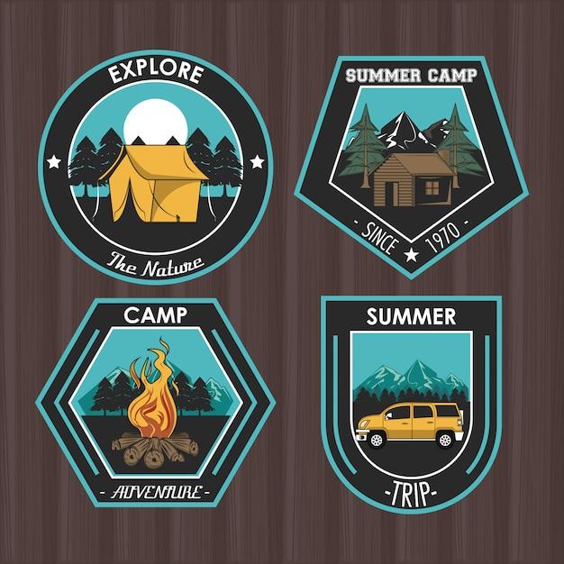 Conjunto de campismo explorar emblemas de patches de verão Vetor grátis