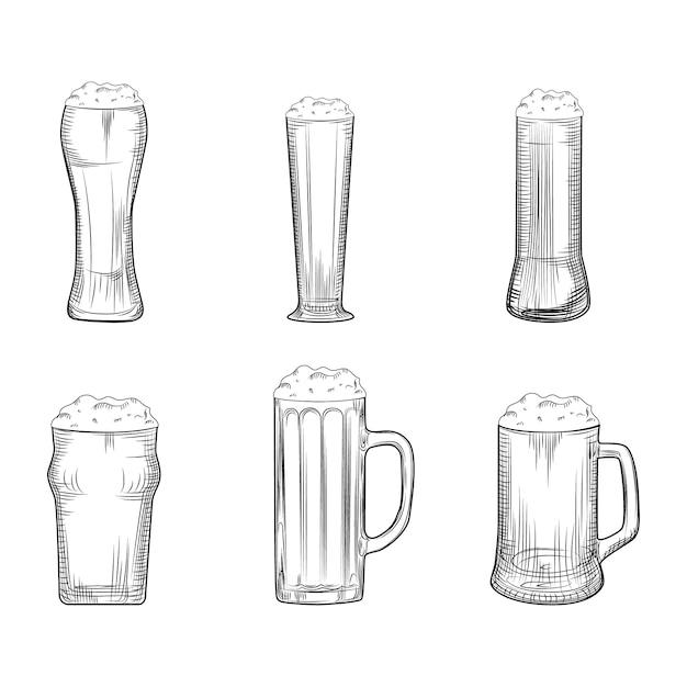 Conjunto de caneca de cerveja. copos cheios de cerveja com espuma. estilo de gravura. Vetor Premium