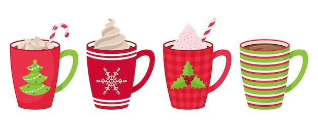 Conjunto de canecas com café, chá, chocolate com marshmallow, canudo e chantilly e cobertura decorativa. estilo simples. Vetor Premium