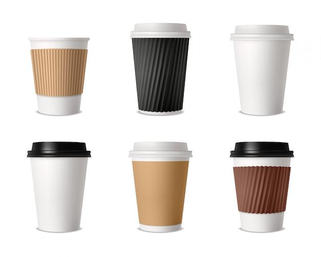 Conjunto de canecas de café de papel Vetor grátis