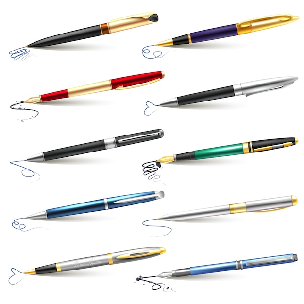 Conjunto de caneta-tinteiro de negócios Vetor grátis