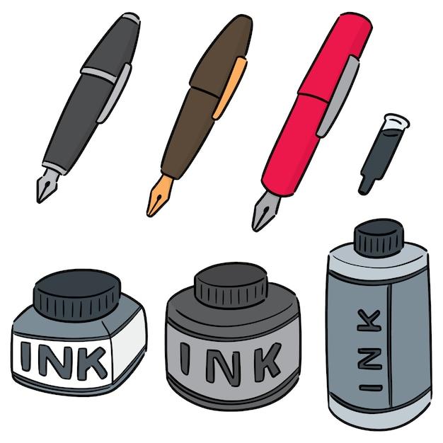 Conjunto de caneta-tinteiro e tinta Vetor Premium