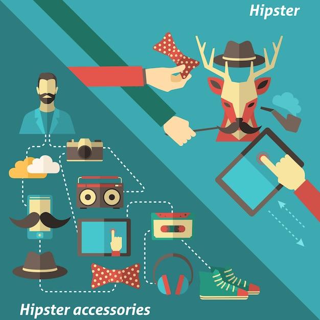 Conjunto de canto hipster Vetor grátis